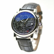 Star Chronograph Gmt 102135 Automatic Transparent Ss Leather W/box Men