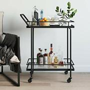 Sally Rolling Or Cart For Tea Or Cocktail 2-tiered Glass And Metal Black Bar