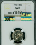 1990-d Roosevelt Dime Ngc Ms-68 90ft Pq Mac Finest Mac Spotless 10,000 In Ft .
