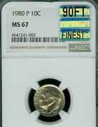 1980-p Roosevelt Dime Ngc Mac Ms67 90ft Mac Finest Grade Spotless 8,000 In Ft.
