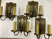 Spanish Colonial Heron Bird Wall Sconces Double Arm Set A Four Hewn Detail