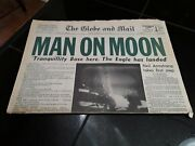 Man On The Moon Newspaper. Vintage The Globe And Mail July 21, 1969