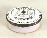 Colorful 1700 Battersea England Enameled Motto Patch Box Keep This For My Sake