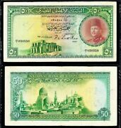 1949 Egypt Fifty Pounds Banknote King Farouk P 26a Signed Leith-ross Pmg Vf 20
