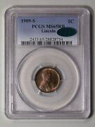 1909-s 1c Lincoln Cent - Type 1 Wheat Reverse Pcgs Ms65rb Cac