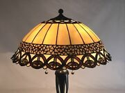 Vtg Stained Glass Lamp Shade Arts And Crafts Style 19 Large Caramel Slag