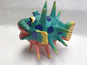 Hand Made Paper Mache Bright Colored Blow Fish Free Standing Or Hang Boho