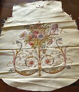 Collectors 19th C French Point De Beauvais Embroidered Silk Faille Piece Ww672