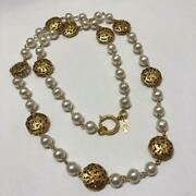 Vintage Long Double Necklace White Gold Pearl Authentic 25 1990