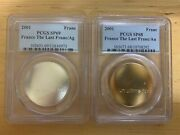 France 2001 Gold And Silver Set -the Last Ultime Franc - Pcgs Sp 69 And 68 Rare Set