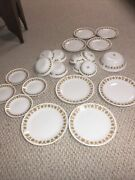 21 Piece Vintage Corelle Dinnerware- Butterfly Gold Pattern-service For 4