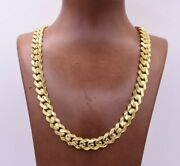 11mm Miami Cuban Royal Curb Chain Necklace Cz Box Clasp Real 14k Yellow Gold
