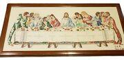 The Last Supper Vintage Cross-stitch Completed Art Piece Wooden Framed Wall Hang