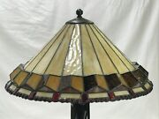 Vtg Stained Glass Lamp Shade Arts And Crafts Mission Style 20 Large Slag
