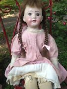 Rare Antique American 32andrdquo Rollinson Cloth Character Doll Museum Worthy