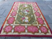 Antique Hand Made 19 Century English Needlepoint Green Red Wool Rug 321x205cm