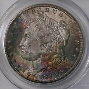 1884-cc Morgan 1 Pcgs Cac Certified Ms66 Simpson Pedigree Colorful Toned Obv