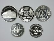 Franklin Mint Worldand039s Great Casino Sterling Proof Coin Set Of 5 Pcs Lot1