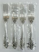4 Pc Lot Wallace Grande Baroque Sterling Silver 7 1/2 Forks