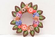 Wreath Tree Of Life Clay Handmade Mexican Folk Art Pottery Hanging Vintage 10.25