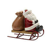 Santa And Bag Of Toys On Sled Salt And Pepper Shakers From Pottery Barn New In Box