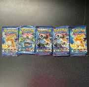 Pokemon Tcg Xy Evolutions Booster Pack Unopened Lot Of 5 + Empty Hf Tin