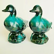 Blue Mountain Pottery Ceramic Duck Pair Made In Canada Green Black Glossy Drip