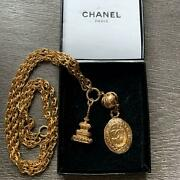 Vintage Long Necklace Charm Tower And Round Coco Gold 86cm 80s Rare W/box