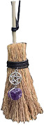 Crystal Witch Wiccan Altar Broom -mini Wicca Car Trim Pendant Crystal Wand Point