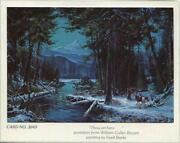 Vintage Christmas Deer Buck Dow Forest Stream Mountains Valley Gare Barks Card