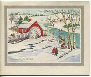 Vintage Christmas Ice Skating Pond Red Water Mill Snow Icicles Art Greeting Card