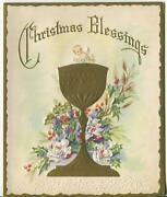 Vintage Christmas Christ Child Ecclesiastical Holy Communion Cup Greeting Card