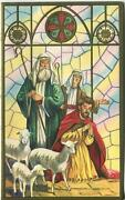 Vintage Christmas Church Stained Glass Window Shepherd Sheep Embossed Art Card
