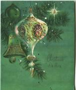 Vintage Christmas White Green Gold Tree Ornament Light Mid Century Greeting Card