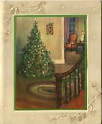 Vintage Christmas Tree Ornaments Wooden Stair Case Parlor Mcm Greeting Art Card