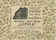 Antique German Aceo Size Autoharp Chorded Zither Germany Advertisement Old Print