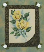 Vintage Yellow Garden Roses Flowers Blue Ferns Collage Picture On Antique Paper