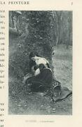 Antique Woman Mourning Sorrow Shrine Madonna And Child Ivy Tree Miniature Print