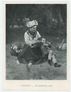 Antique Victorian Mother Feeds Girl Doll Spoon Picnic Basket Miniature Art Print