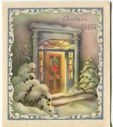 Vintage Christmas Door Stained Glass Windows Snow Scroll Design Greeting Card