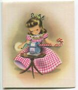 Vintage Christmas Pretty Girl Red Gingham Dress Candy Cane Pencil Norcross Card