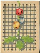 Vintage 1940and039s Christmas Yellow Red Blue Jingle Bells Gray Gingham Greeting Card