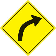 Voss Signs Yellow Plastic Reflective Sign 12 - Right Curve Pn 406 Cur Yr