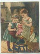 Antique Victorian Children Braiding Doll Hair Importers And Traders Tea Co Print