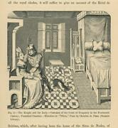 Antique Knight Woman Royalty Lady Burgundy Bed Chamber Greyound Dog Old Print
