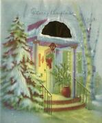 Vintage Christmas Blue Colors Evergreen Trees Snow Open Door Snow Stairs Card