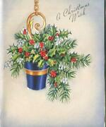 Vintage Christmas Royal Blue Planter Bouquet Holly Pine Berries Greeting Card