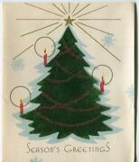 Vintage Christmas Art Deco Green Tree Candles Gold Star Snowflakes Greeting Card