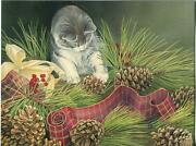 1 Christmas Kitten Cat Pine Cones Holly Card 1 Raggedy Ann Andy Hope Chest Print