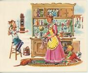 Vintage Kitchen Mother Cooking Orange Tabby Cat Corn Chower Popovers Card Print